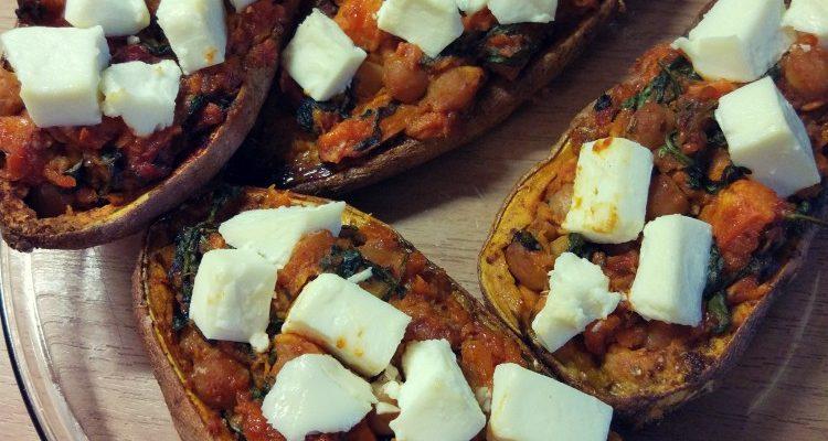 Bataty pieczone + ciecierzyca + pomidory + szpinak + feta