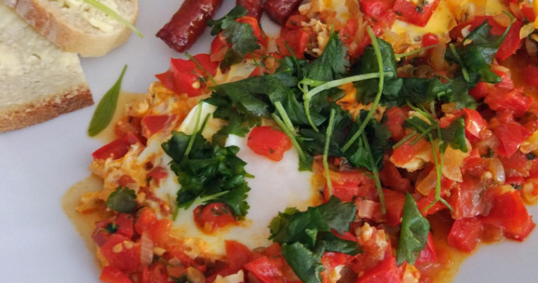 Szakszuka pomidory + papryka + kiełbaska