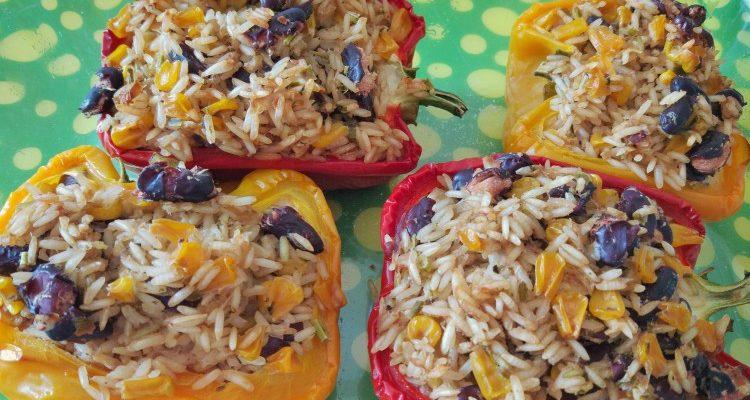 Papryki faszerowane ryż + kukurydza + fasola