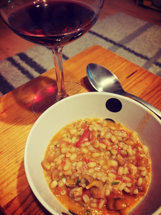 Kaszotto kurki + pomidory