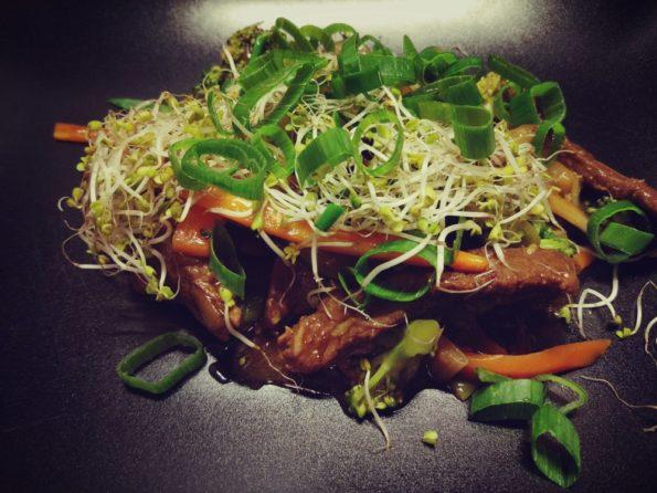 stirfry grzyby warzywa