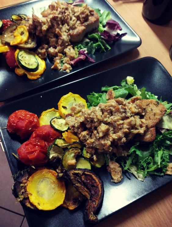 Tuńczyk + grillowane warzywa + sos kurkowy
