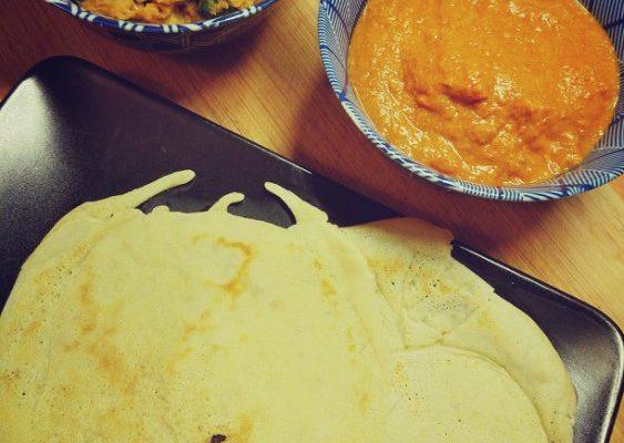Curry indyjskie warzywa + kurczak w plackach