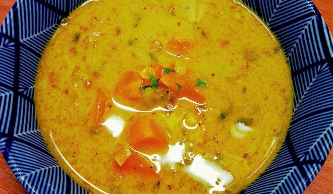 Zupa soczewica + bataty + mleczko kokosowe
